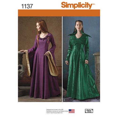 Simplicity Pattern 1137 Misses' Medieval Fantasy Costumes