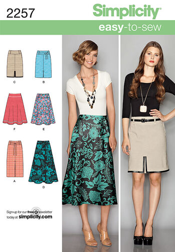 Simplicity Pattern 2257 Misses' Easy to Sew Skirts
