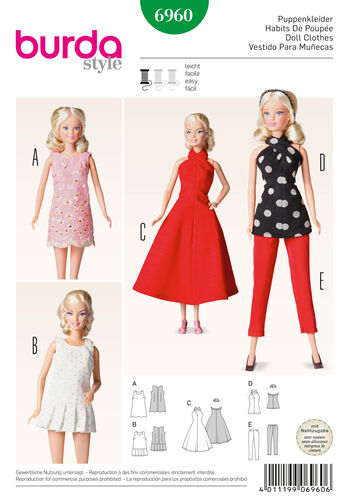 Burda Style Pattern 6960 Doll Clothes, Accessoires