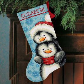 Hugging Penguins Stocking, Needlepoint_71-09144