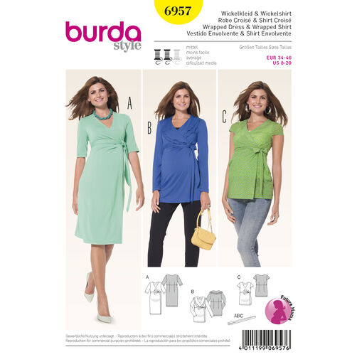 Burda Style Pattern 6957 Maternity Wear