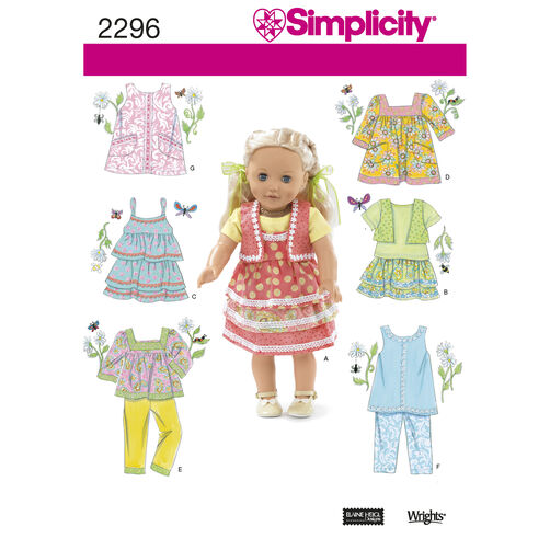 "Simplicity Pattern 2296 Clothes for 18"" Doll"