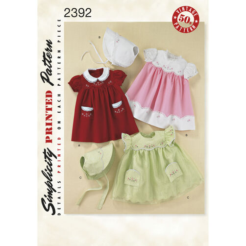 Simplicity Pattern 2392 Babies' 1950s Vintage Layette