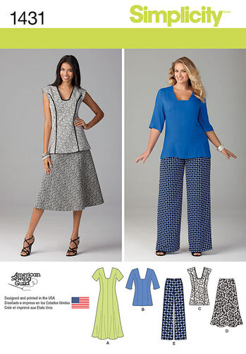Misses' and Miss Plus Dress or Tunic, Pants and Skirt