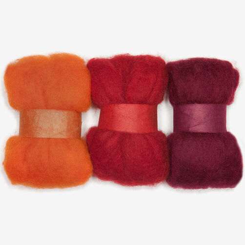 Orange and Red Wool Roving Trio, Needle Felting_72-73929