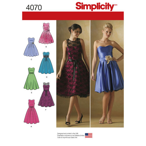 Simplicity Pattern 4070 Misses' & Miss Petite Special Occasion Dresses