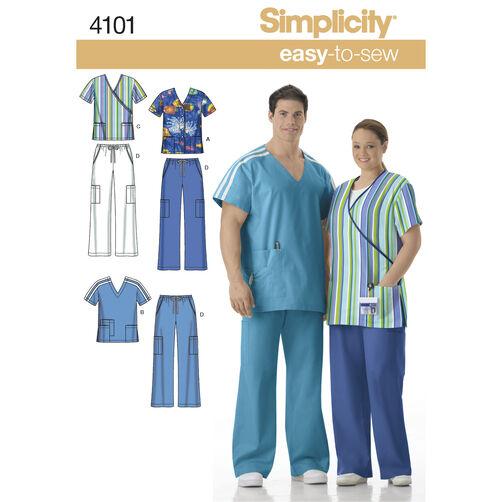 Simplicity Pattern 4101 Women's & Men's Plus Size Scrubs