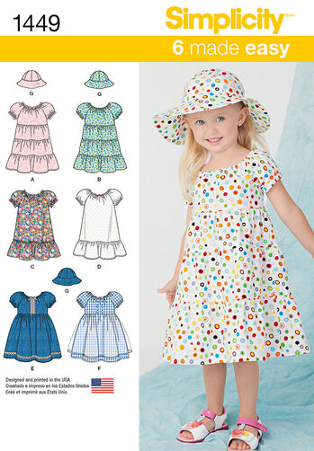 Toddlers' Dress and Hat in Three Sizes