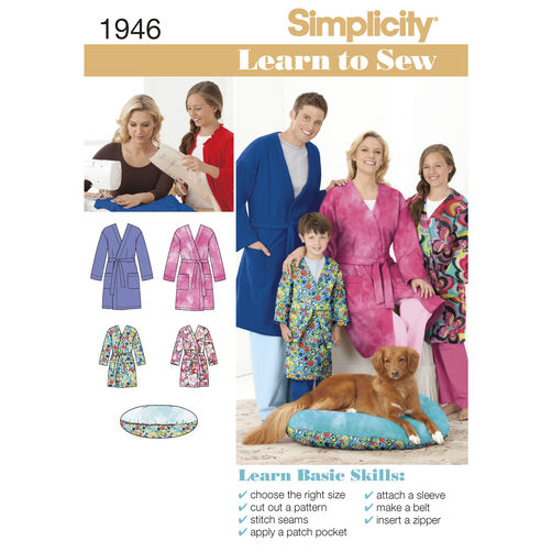 Simplicity Pattern 1946 Learn to Sew Child's Teen's & Adults' Robe