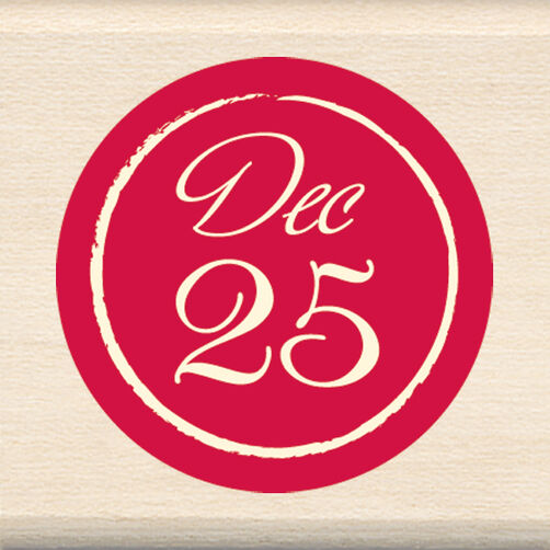 December 25 Circle Wood Stamp _60-00860
