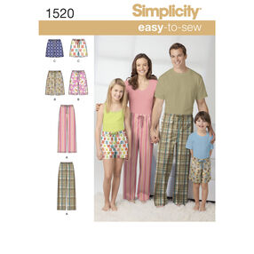 Simplicity Pattern 1520 Child's, Teens' and Adults' Pants and Shorts