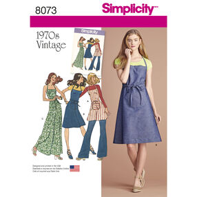 Simplicity Pattern 8073 Vintage 1970s Apron Dress