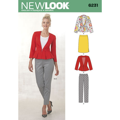 New Look Pattern 6231 Misses' Skirt, Pants & Peplum Jackets