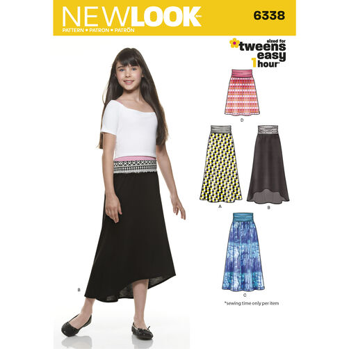 New Look Pattern 6338 Girl's Easy Skirts and Knit Skirts