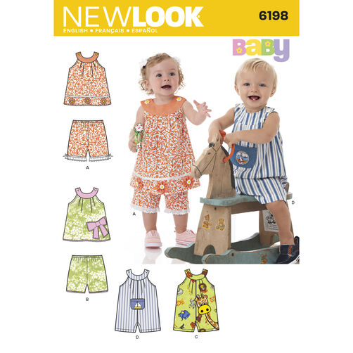 New Look Pattern 6198 Babies' Top, Shorts and Romper