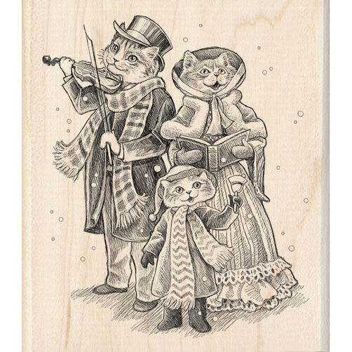 Three Cats Caroling Wood Stamp_60-00931
