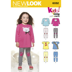 New Look Pattern 6332 Toddlers' Knit Leggings and Appliqued Tunics