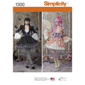 Simplicity Pattern 1300 Misses' Costume Overdress and Skirt