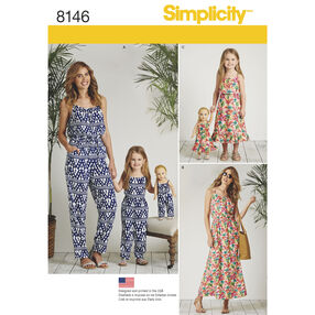 "Simplicity Pattern 8146 Matching outfits for Misses, Child and 18"" Doll"