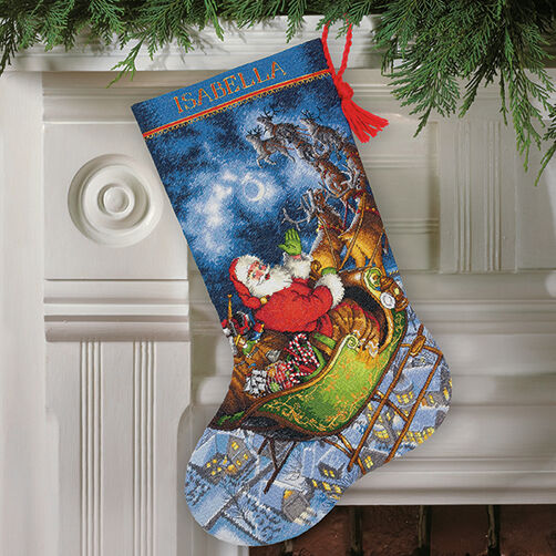 Santa's Flight Stocking in Counted Cross Stitch_70-08923