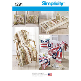 Simplicity Pattern 1291 Rag Quilted Throws, Pillows and Bench and Table Runners