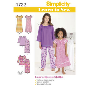 Simplicity Pattern 1722 Learn to Sew Child's and Girl's Loungewear