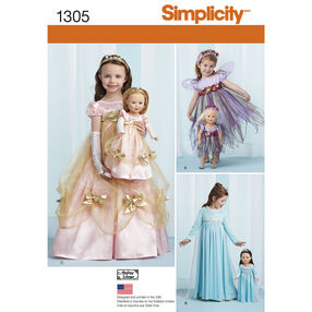 "Simplicity Pattern 1305 Costumes for Child and 18"" Doll"