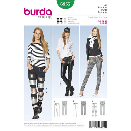 Burda Style Pattern 6855 Pants, Jumpsuit