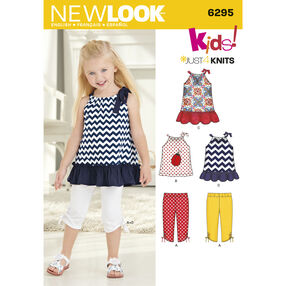 New Look Pattern 6295 Toddlers' Knit Capri Leggings and Dress, Tunic and Top