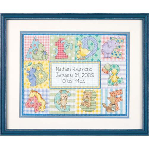 Zoo Alphabet Birth Record, Counted Cross Stitch_73472