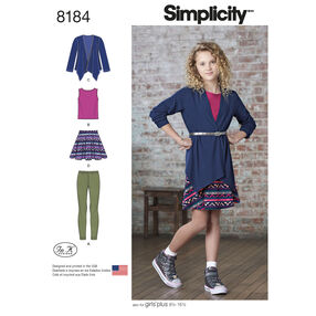 Pattern 8184 Girls' and Girls' Plus Skirt and Knit Top, Cardigan and Leggings