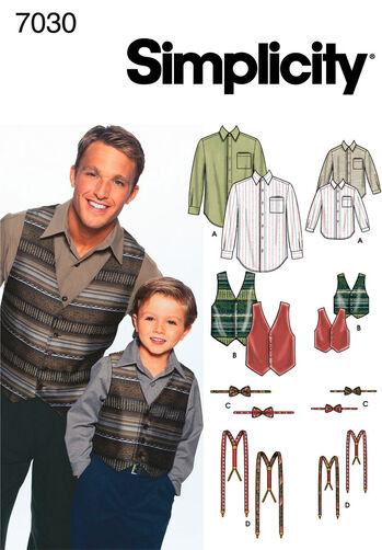 Boys and Men Shirt, Vest, Bow Tie & Suspenders