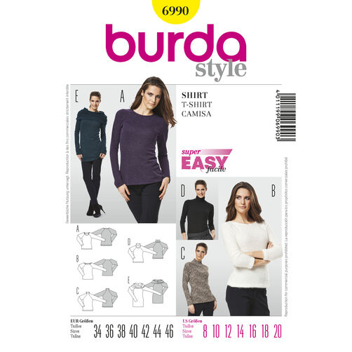Burda Style Pattern 6990 T-Shirt