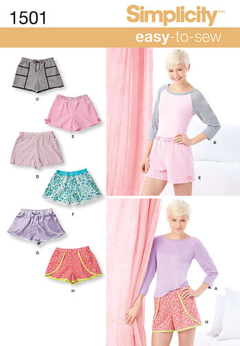 Misses' Lounge Shorts and Raglan Knit Top