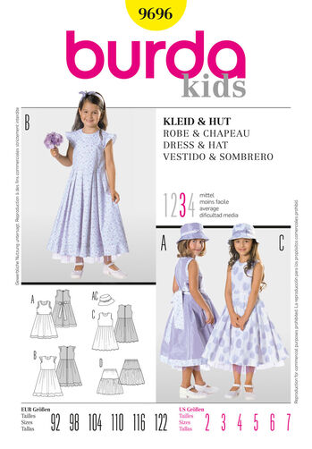 Burda Style Pattern 9696 Dress & Hat