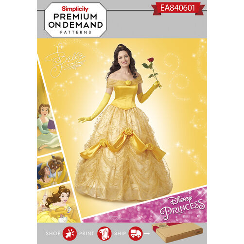 Simplicity Pattern EA840601 Premium Print on Demand Misses' Disney Classic Belle Costume