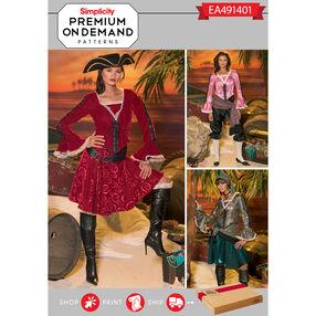Simplicity Pattern EA491401 Premium Print on Demand Misses' Pirate Costumes