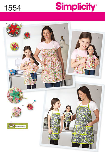 """Child's, Misses' and 18"""" Doll Aprons"""