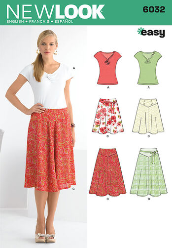 Misses' Skirts & Knit Top