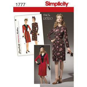 Simplicity Pattern 1777 Misses' 1940s Vintage Dress