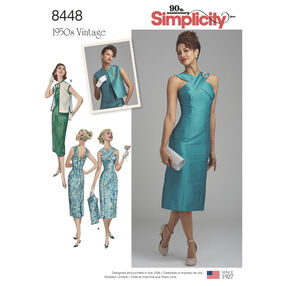 Pattern 8448 Misses' Vintage Dress with Lined or Unlined Vest