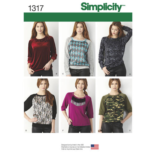 Simplicity Pattern 1317 Misses' Pullover Knit Top