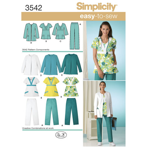 Simplicity Pattern 3542 Misses' & Women's Plus Size Scrubs