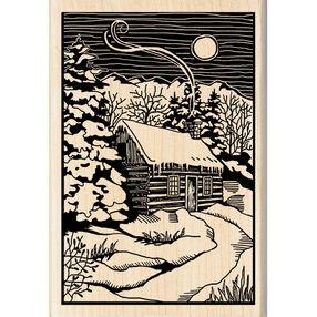 Winter Evening Wood Cut Wood Stamp_60-01005