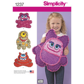 Simplicity Pattern 1237 Rag Quilted Monster Pillows