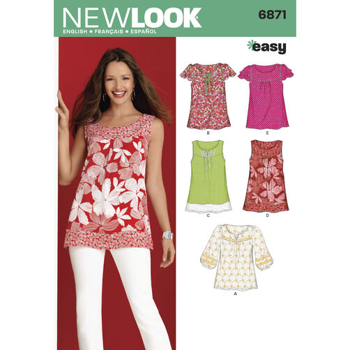 New Look Pattern 6871 Misses Tops