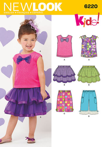 Toddlers' Skirt, Pants and Knit Top