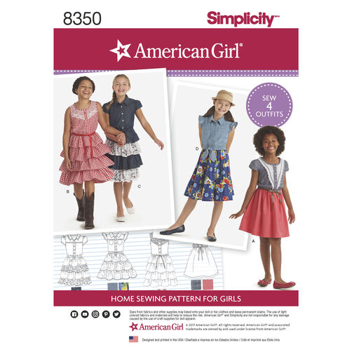 Simplicity Pattern 8350 American Girl Child's Dress
