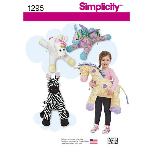 Simplicity Pattern 1295 Stuffed Zebra, Unicorn, Pegasus and Giraffe