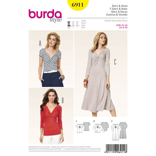 Burda Style Pattern 6911 Dresses